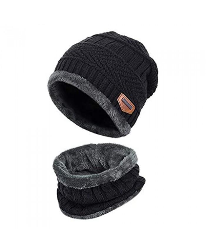Winter Beanie Hat Scarf Set Fleece Liner Warm Knit Hat Thick Knit Skull Cap Outdoor Sports Hat Sets for Men Women