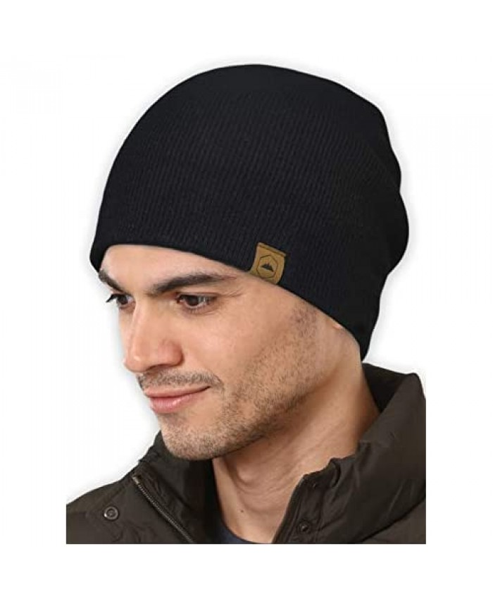 Winter Beanie Knit Hats for Men & Women - Merino Wool Ribbed Cap - Warm & Soft Stylish Toboggan Skull Caps for Cold Weather