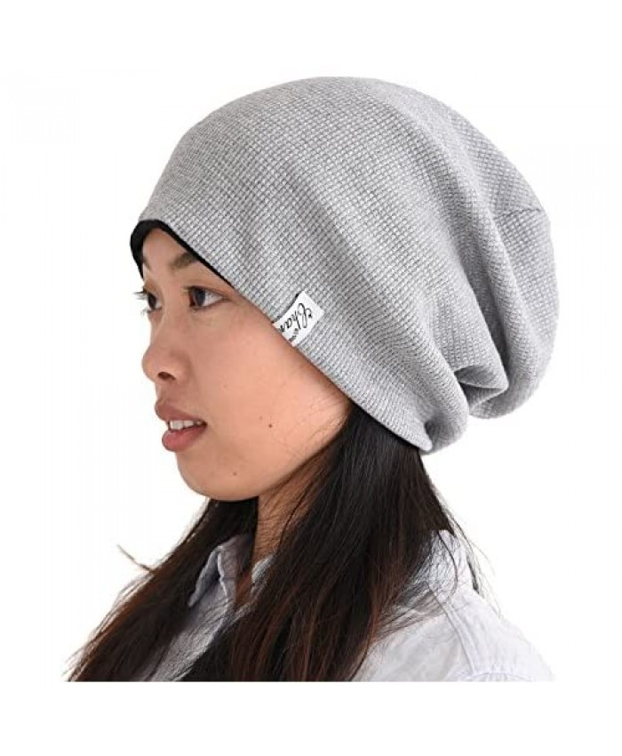 Womens Slouchy Cotton Beanie Hat - Mens Baggy Slouch Chemo Hat Japanese Style