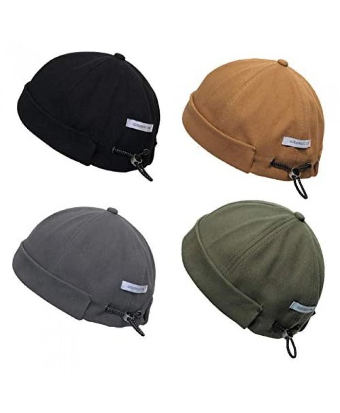 Zegoo Unisex Beanie Cotton Docker Brimless Hat Rolled Cuff Harbour Hat with Drawstring
