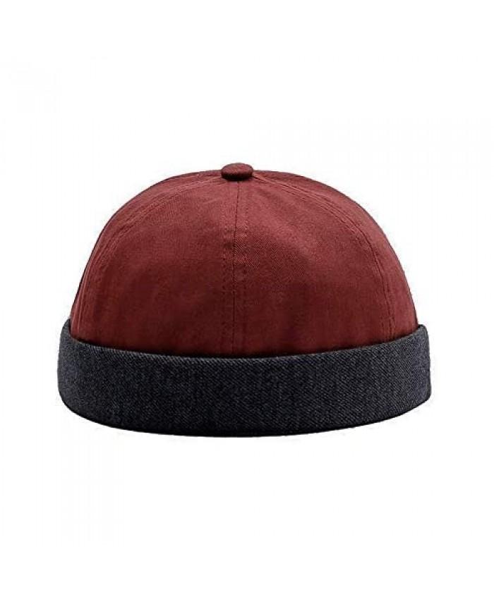 Zegoo Unisex Skull Cap Sailor Cap Rolled Cuff Retro Brimless Beanie Hat