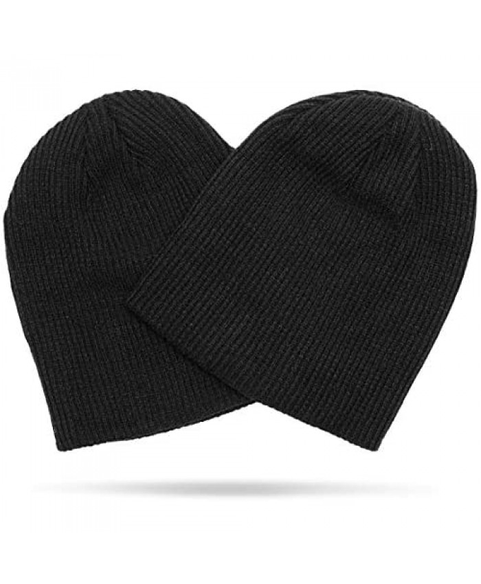 Zodaca Black Slouchy Beanie for Men and Women Soft Knit Hat for Adults (2 Pack)