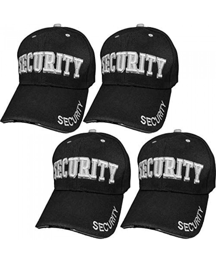 4 Pack Security Hat Baseball Ball Cap Black Embroidered Adjustable 100% Cotton