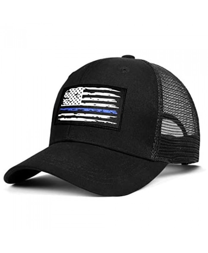 Adjustable Black Unisex Thin Blue Line Trucker Dad Hat American Flag Snapback Hat Tactical Country Hat