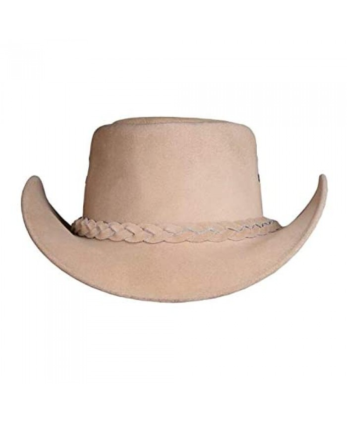 Australian Cowboy Hat Real Suede Leather Bush Outback American Western Hat