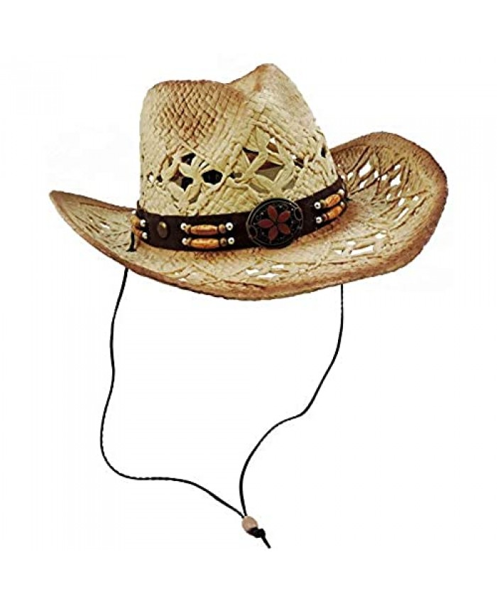 Tea Stained Western Cowboy Hat With Orange Medallion Brown Faux Leather Band