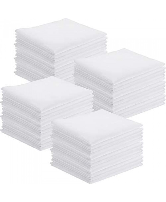 100 Pieces Handkerchiefs Classic Hankies Pocket Square Towel White Small Size 11 x 11 Inches for Kids Girl Boy Tea Parties