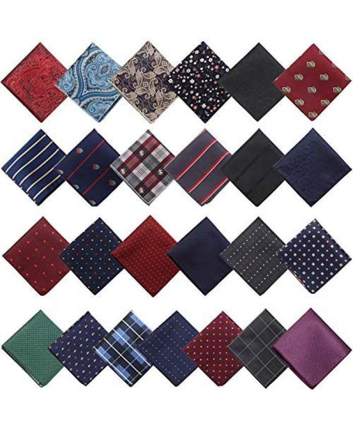 25 Pieces Men Pocket Square Handkerchief Soft Colored Hankies Assorted Pattern Hankies for Party Wedding
