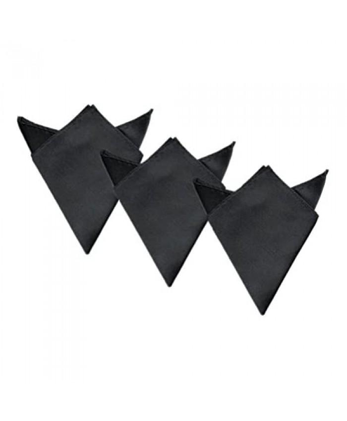 3-Pack Men's Small Solid Color Satin 8 Pocket Squares Wedding Handkerchief