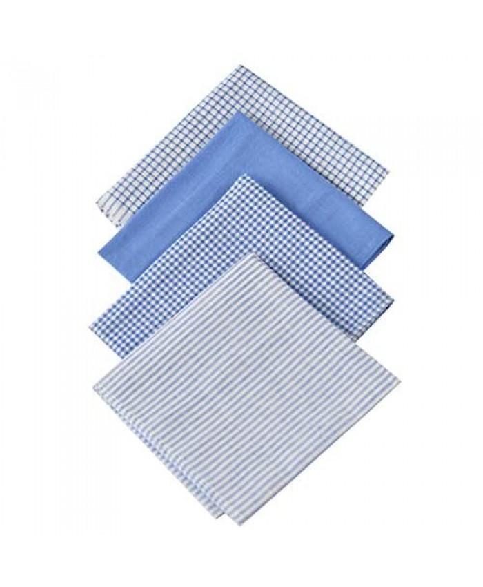 "ARAD 4 Pack Fine Men's Handkerchiefs 100% Soft Cotton with Stitching Blue Plaid Hankie Solid Blue Assorted Colors-16""x16"""