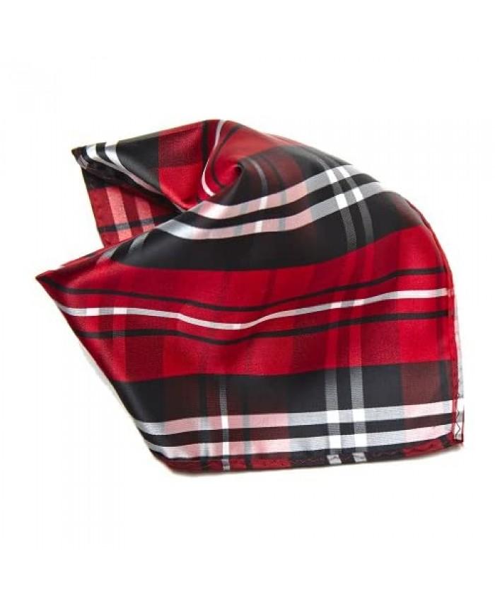 Black Red White Plaid Design Men's Hankerchief Pocket Square Hanky