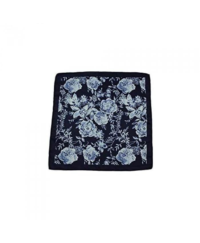 D&L MENSWEAR Midnight Blue Floral Silk Pocket Square