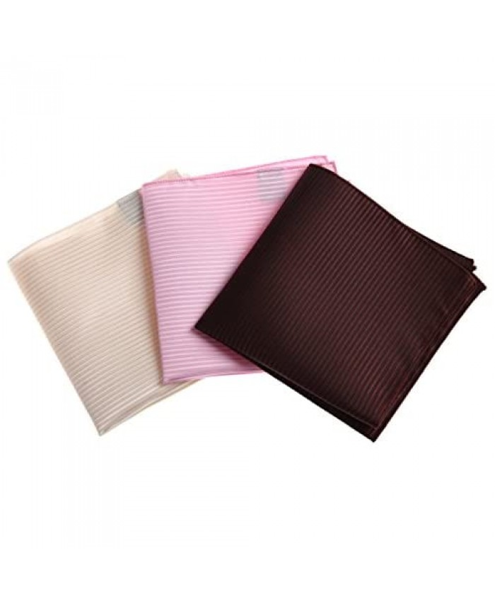 Dan Smith Men's Fashion Plain Pocket Square Microfiber 3 Hankerchiefs Set- 3 Colours With Box