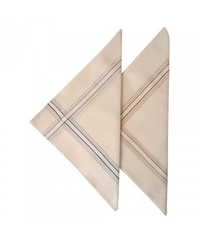 Handkerchiefs Mens Cotton 12 PACK of Soft Large Durable Hankies Boxed 18 x 18 inch