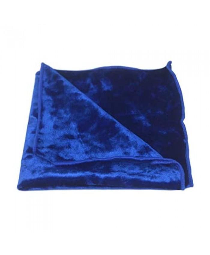Luxury Blue Crushed Velvet Pocket Square Handkerchief