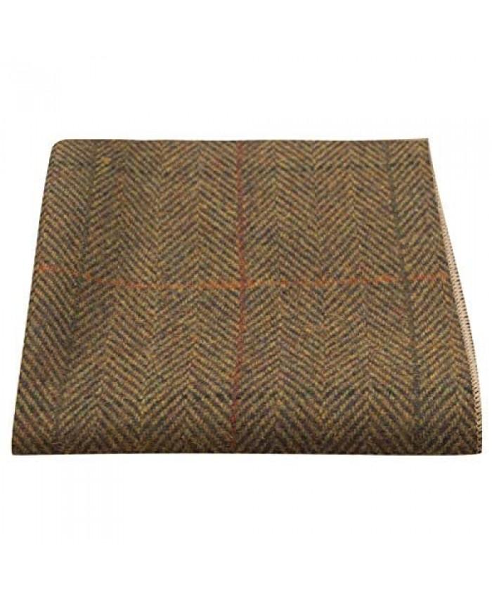 Luxury Dijon Herringbone Check Pocket Square Handkerchief Tweed