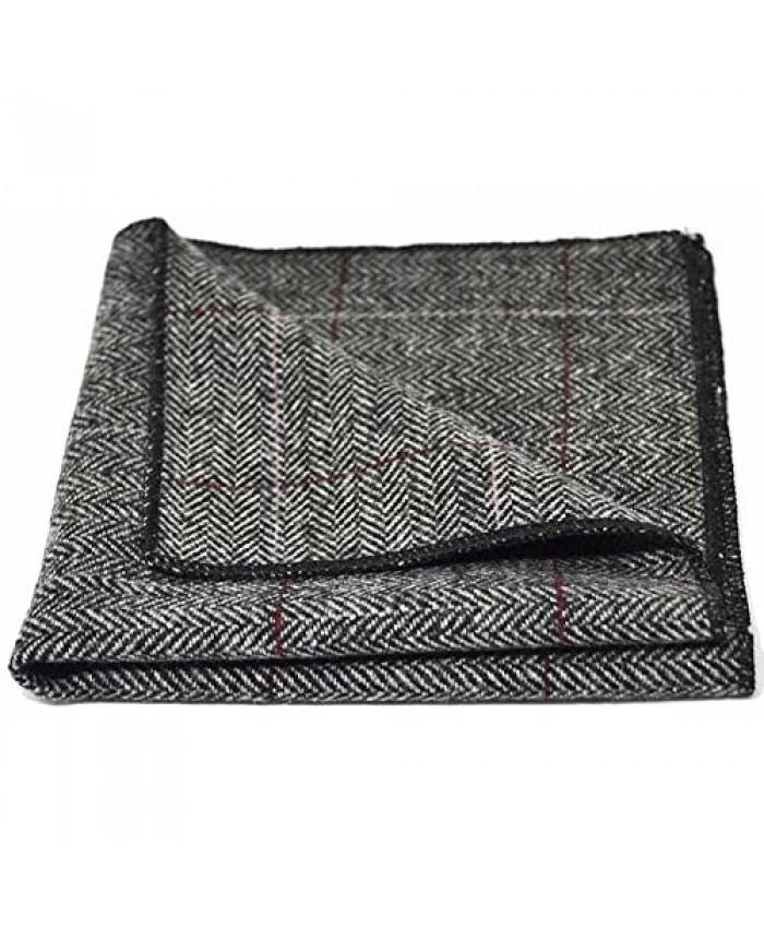 Luxury Herringbone Pewter Grey Pocket Square Handkerchief