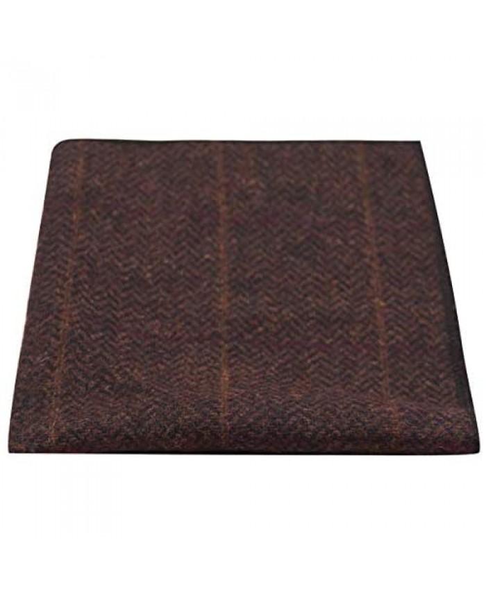 Luxury Mahogany Herringbone Check Pocket Square Handkerchief Tweed