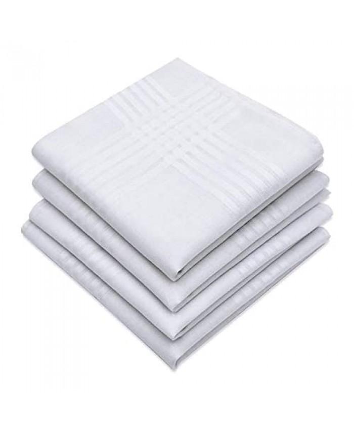 MENDENG Men's Handkerchiefs 100% Cotton Classic Hankies 4 Pack Classic Stripe