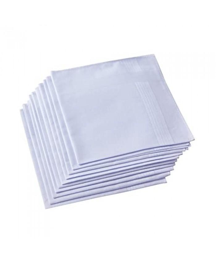 Men's White Handkerchiefs,100% Cotton,Pack of 12