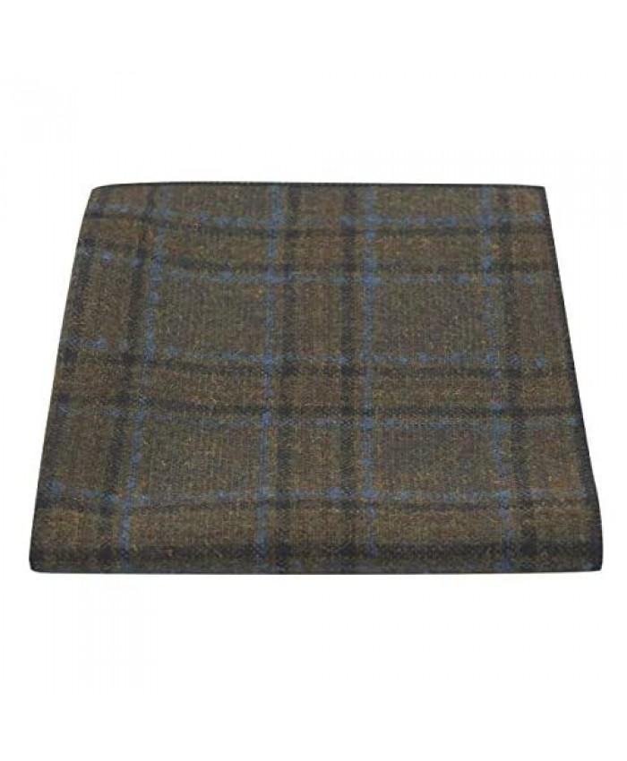 Olive Green & Brown Check Pocket Square Tweed Tartan Plaid