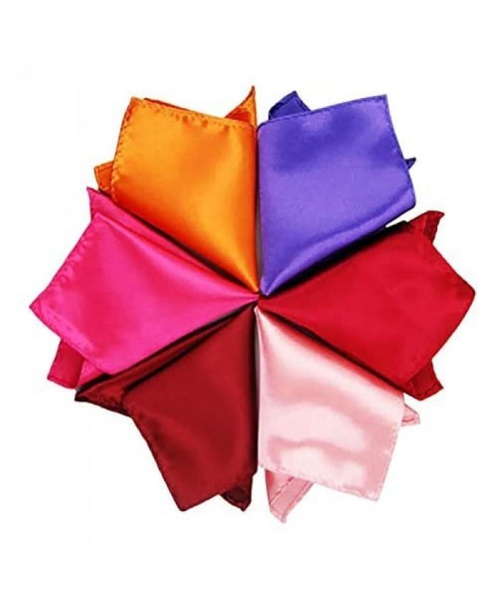 OLizee 26pcs 8.6 x 8.6 Men Formal Silk Satin Pocket Square Hankerchief Hanky Plain