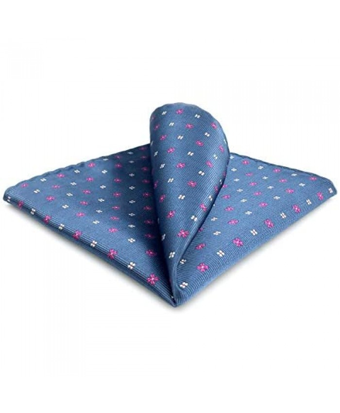 S&W SHLAX&WING Men's Pocket Square Floral Blue Pink Handkerchief for Party