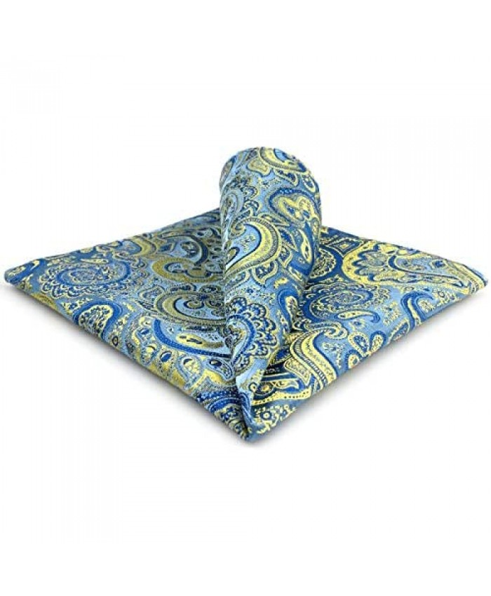 S&W SHLAX&WING Mens Tie Set Necktie Blue and Yellow Paisley