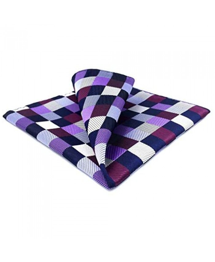 SHLAX&WING Checkered Silk Pocket Square for Men Multicolor Hanky 12.6 inches