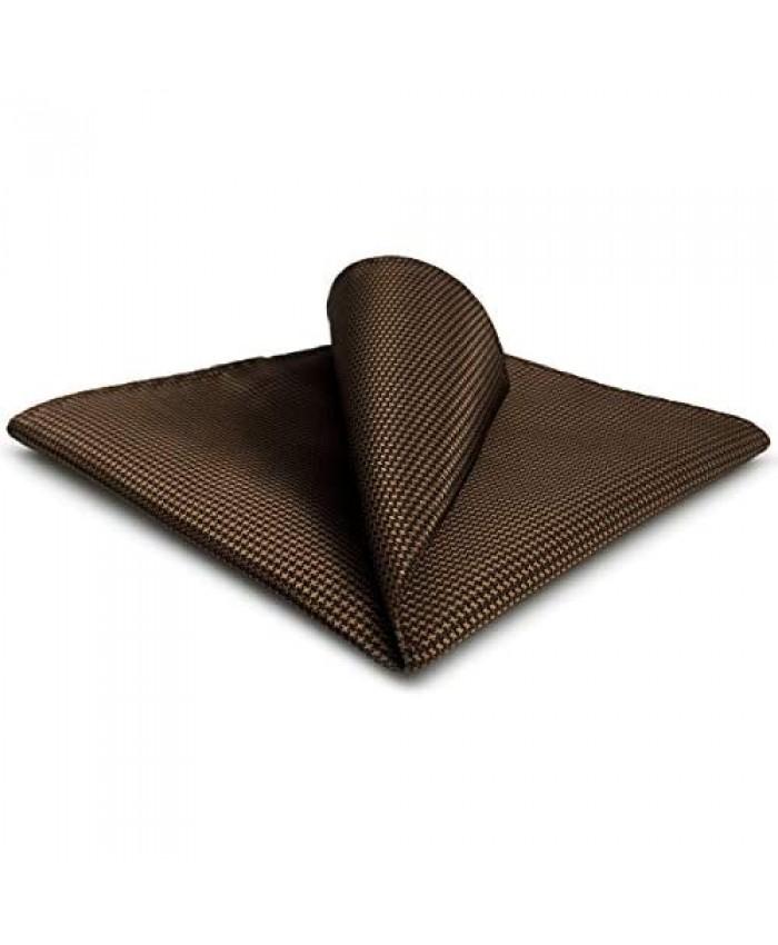 SHLAX&WING Silk Pocket Square for Men Plain Brown Handkerchief Hankies Hanky
