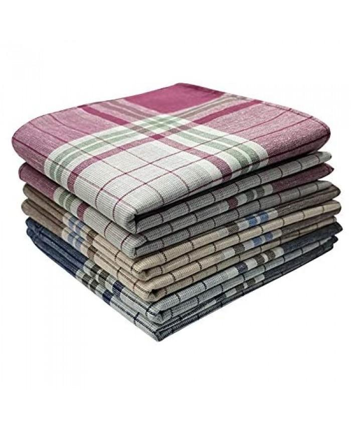 Soft Cotton Men's Handkerchiefs 6 Pack Classic Hankies Assorted