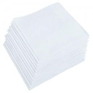 UMO LORENZO Pocket Square 100% Soft Premium Cotton White Handkerchief for men - 12 Pack