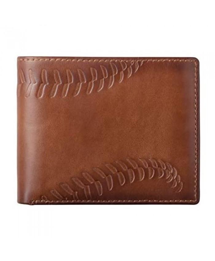 HOJ Co. BASEBALL Bifold Wallet   Two ID Windows   Full Grain Mens Leather Wallet   Multi Card Capacity   Coach Gift