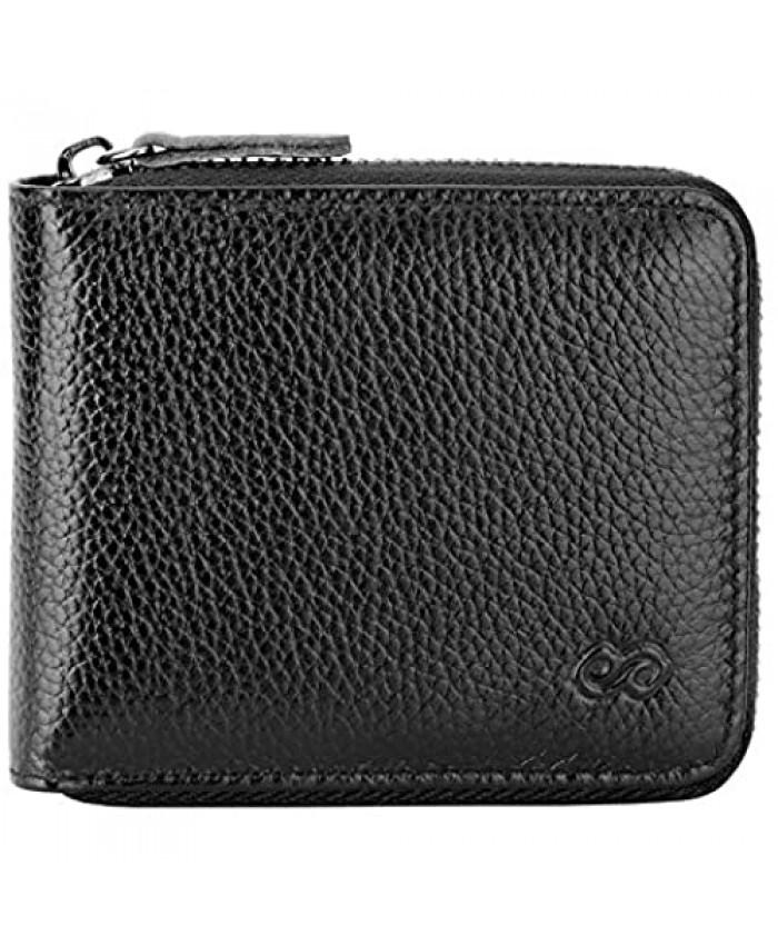 Men's Leather Zipper Wallet RFID Blocking Zip Around Wallet Bifold Multi Card Holder Purse black2