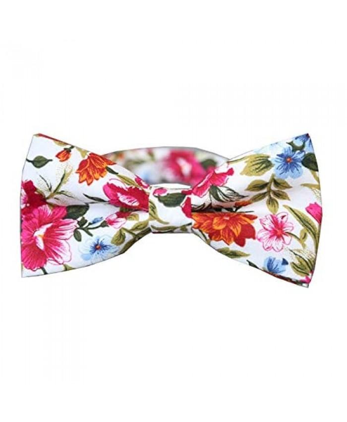 D&L Menswear Men's Pre-Tied White Floral Bow Tie Adjustable Neck Wedding Party Bow Tie