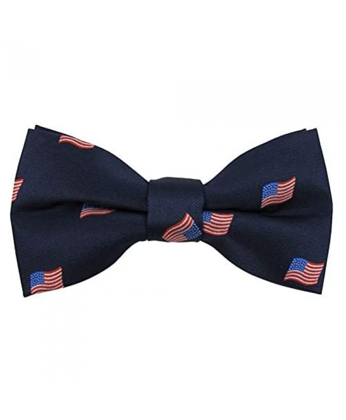 Jacob Alexander Men's Woven American Flags USA Navy Bow Tie