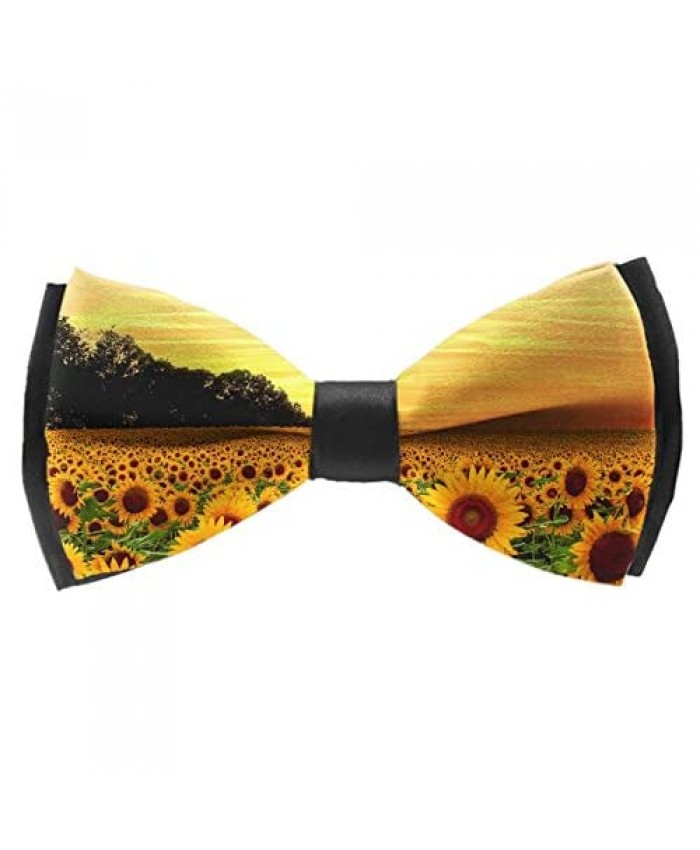 Men's Pre Tied Bow Ties for Wedding Party Beautiful Sunset Sunflowers Adjustable Bowties