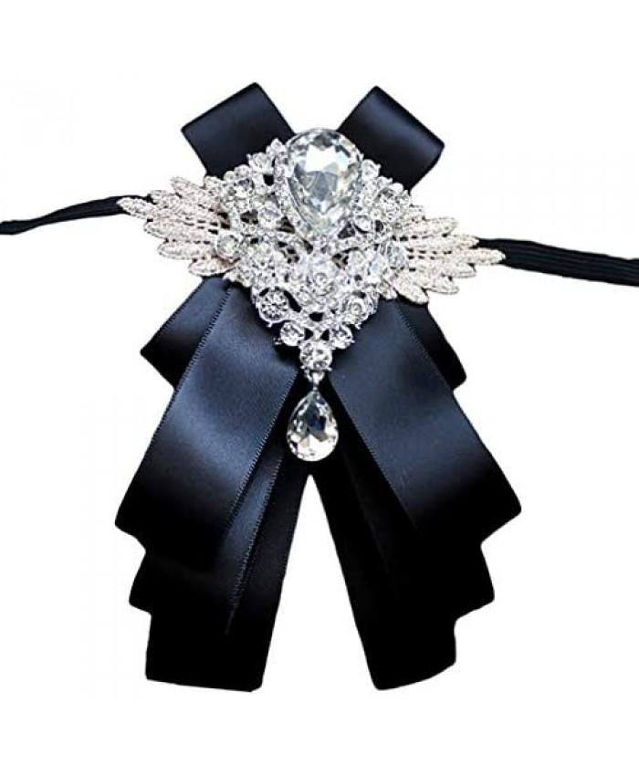 MOHSLEE Men's Silk Solid Pre-Tied Bow Tie Luxury Decorative Crystal Wedding Suit