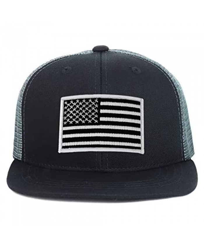 Armycrew Youth Kid's Black White American Flag Patch Flat Bill Snapback Trucker Cap