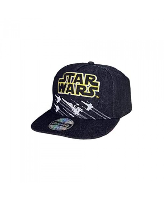 Classic Star Wars X-Wing Starfighter Embroidered Logo Outline Youth Flatbill Baseball Cap Hat Black & Yellow