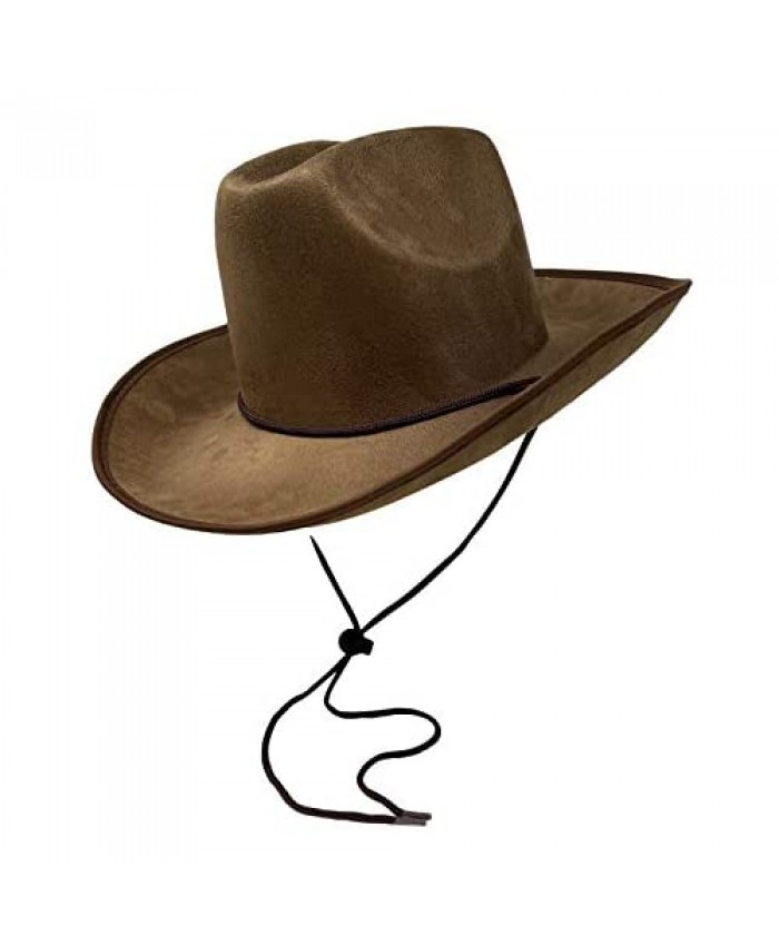 Cosmic Chameleon Kid's Brown Suede Cowboy Hat with Adjustable Chin Strap Fitted