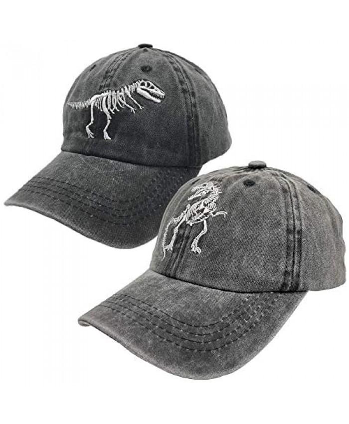 NVJUI JUFOPL 2 Pack Boys' Skull Dinosaur Dad Hat Washed Vintage Embroidered Baseball Cap