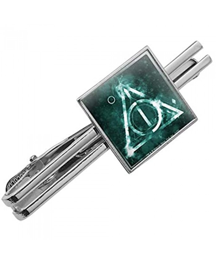 GRAPHICS & MORE Harry Potter Deathly Hallows Logo Square Tie Bar Clip Clasp Tack- Silver or Gold