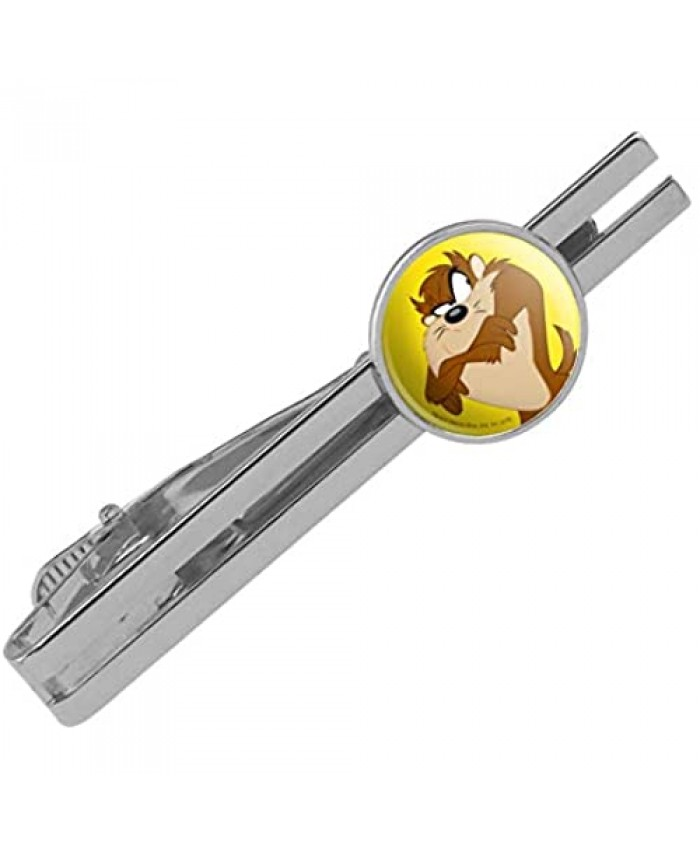 GRAPHICS & MORE Looney Tunes Taz Round Tie Bar Clip Clasp Tack Silver Color Plated