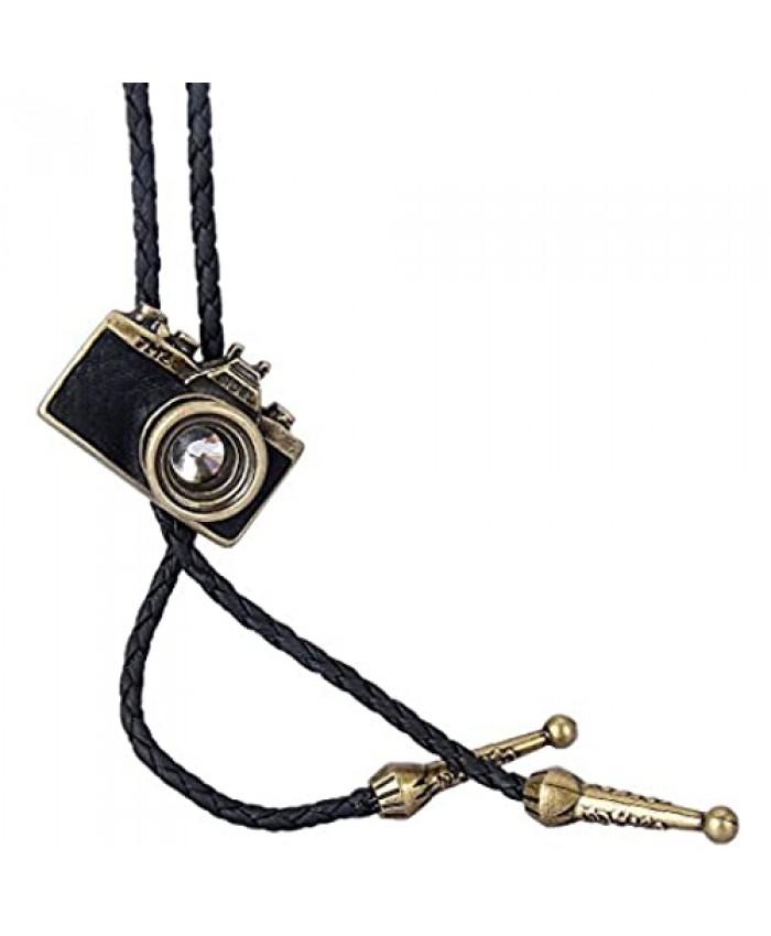 LIANCHI Western Camera Black Bolo Tie for Men and Women Native American Leather Bolo Tie String