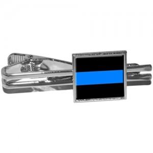 Thin Blue Line - Police Policemen Square Tie Bar Clip Clasp Tack - Silver
