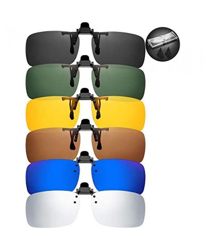 6 Pieces Clip-on Plastic Sunglasses Lenses Flip Up Rectangle Sunglasses Glasses Lens with 6 Pieces Transparent Box
