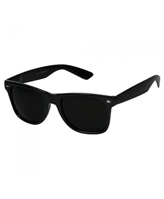 ShadyVEU Super Dark Black Sunglasses UV Protection Lens Spring Hinge 80s Vintage Retro Inspired Shades