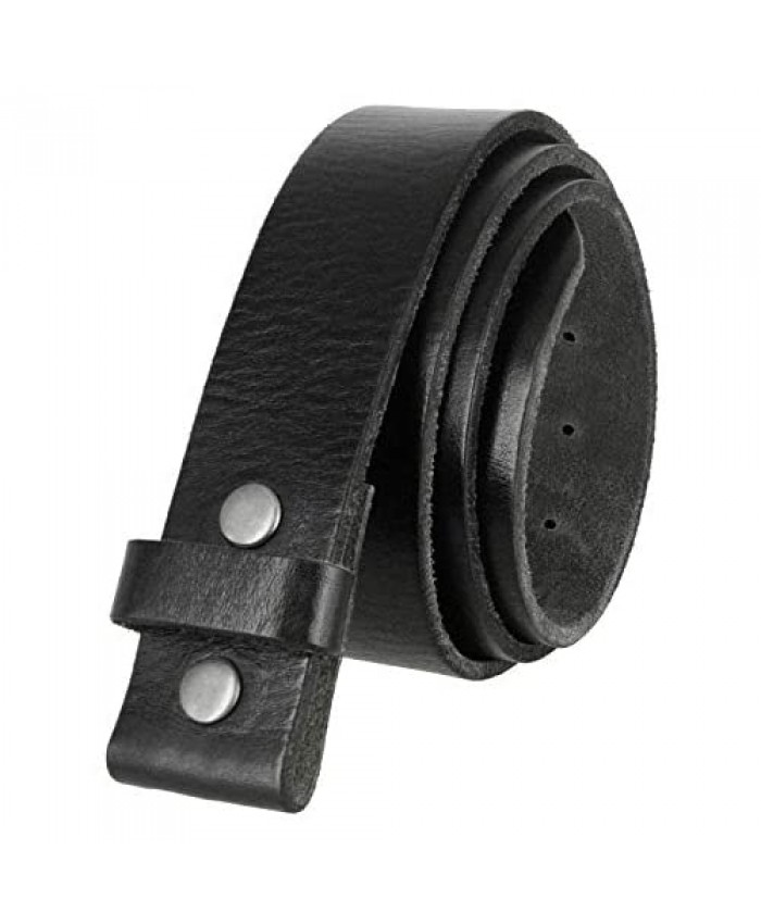 100% One-Piece Full Grain Leather Belt Strap with No Slot Hole/Slot Hole 1 1/2 (38mm) Wide