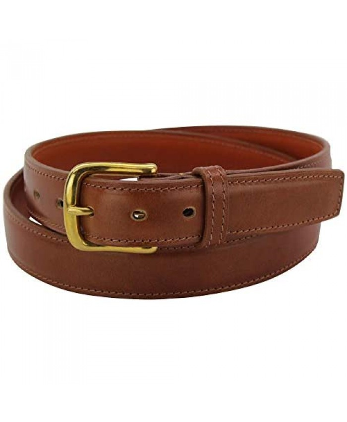 """Men's Italian Leather Belt –Single Stitched Dual Layered -1.25"""" Wide Made in USA"""